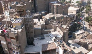 Blick aus einem Hotelzimmer in Kairo