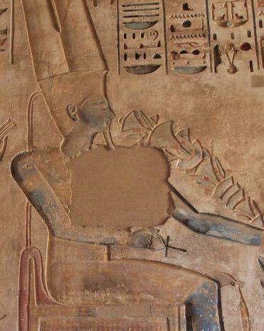 Amun-Re mit blauer Hautfarbe Tempel von Medinet Habu, Theben-West Neues Reich, 19. Dynastie