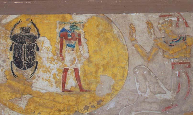 Re als Skarabäus und Widder am Grabeingang des Siptah
