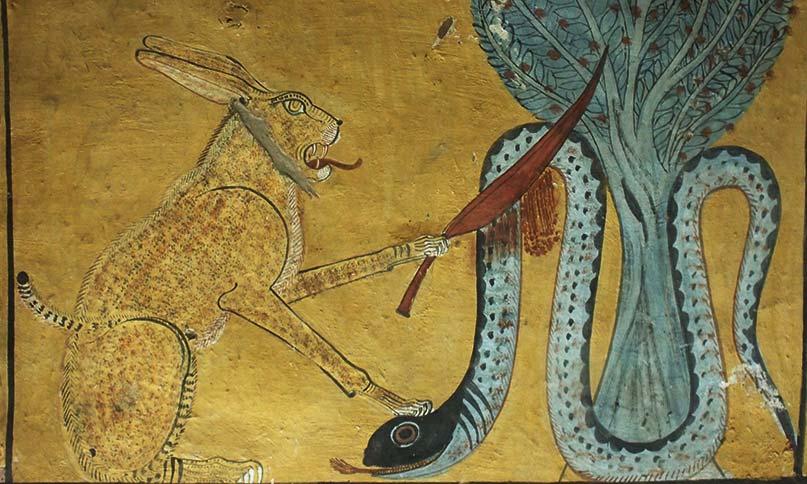Der Sonnenkater tötet die Schlange Apophis im Grab des Inherkau