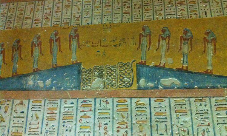 Die Schlange Apophis Darstellung aus dem Pfortenbuch im Grab Ramses IV., Theben West Neues Reich, 19. Dynastie