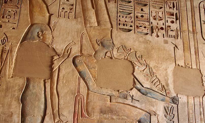 Der Gott Amun-Re mit Blumen