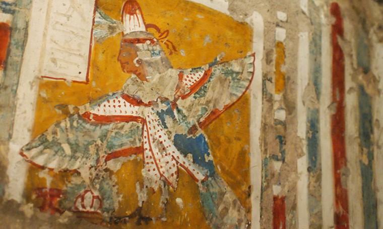 An der Decke des Grabes von Neferrenpet fliegt der Ba seiner Gattin Mutemwia Grab des Neferrenpet (TT178), Theben-West Neues Reich, 19. Dynastie