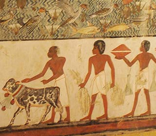 Menschen, Tiere im Grab des Menna