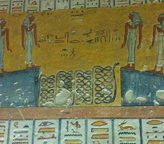 Szene aus dem Totenbuch aus dem Grab Ramses IV.