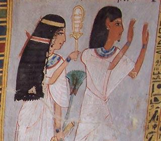 Feine Dame mit Sistrum und feiner Herr aus dem Grab des Roy
