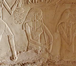 Musikantin mit Flöte auf einem Sedfest aus dem Grab des Cheruef in Theben-West