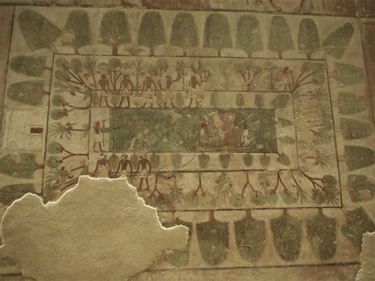 Der Garten des Rechmire. Um den Gartenteich wuchsen verschiedene Pflanzen und Bäume, wie Sykomoren und Dattelpalmen. Links ist sein Haus (oder sein Grab?) eingezeichnet. Grab des Rechmire (TT100), Theben-West Neues Reich, 18. Dynastie