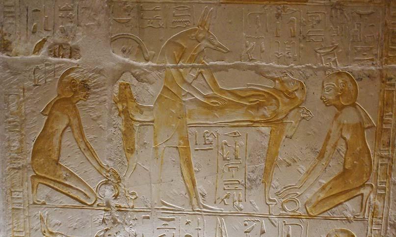 Isis und Nepthths vor der Bahre Osiris
