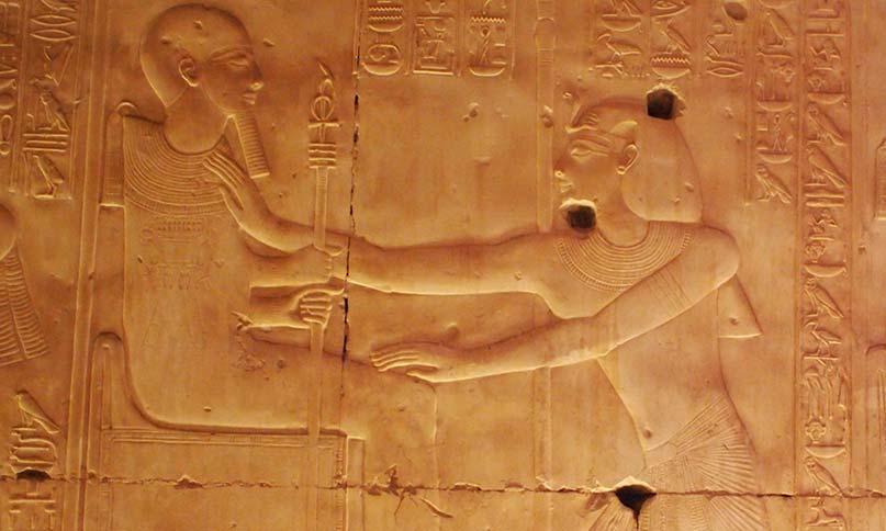 Pharao Sethos I. salbt Ptah im Tempel von Abydos