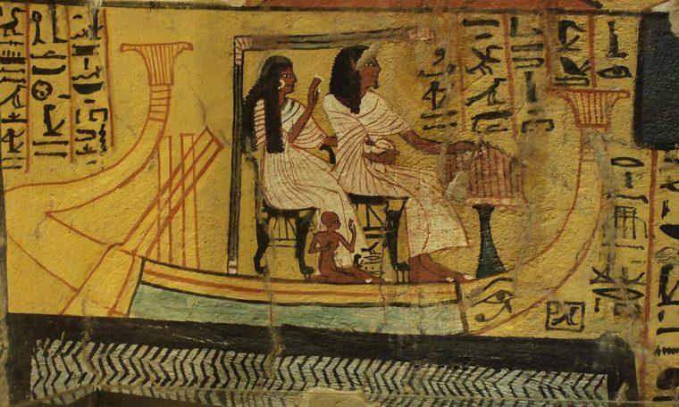 Paschedu und seine Frau pilgern mit ihrer Barke nach Abydos Grab des Paschedu (TT 3), Theben-West Neues Reich, 19. Dynastie