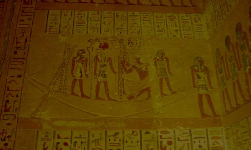Sonnenbarke bei Nacht im Grab Ramses IV.