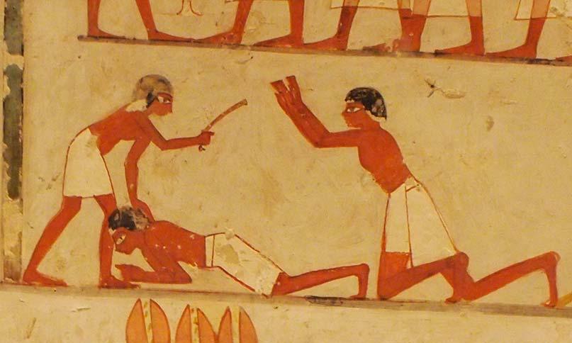 Steuereintreiber verprügeln einen Bauern im Grab des Menna