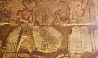 Strickspannen, Pharao Sethos I. und Seschat im Tempel von Abydos