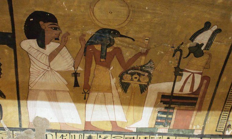Thot führt den Grabherrn Inherkau vor Osiris Thebe-West Neues Reich, 19. Dynastie