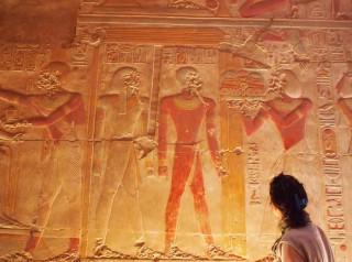 Relief im Tempel Sethos I. in Abydos, Ägypten