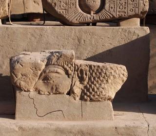 Zwei Blöcke aus dem Aton-Tempel in Karnak. Im Vordergrund Echnaton, im Hintergrund Aton Freilichtmuseum Luxor-Tempel Neues Reich, 18. Dynastie