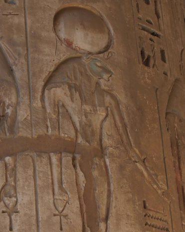 Abbildung der Sachmet im Tempel von Medinet Habu Theben-West Neues Reich, 19. Dynastie