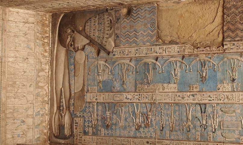 Die Göttin Nut verschluckt die geflügelte Sonnenscheibe Tempel von Dendera Griechisch-römische Epoche
