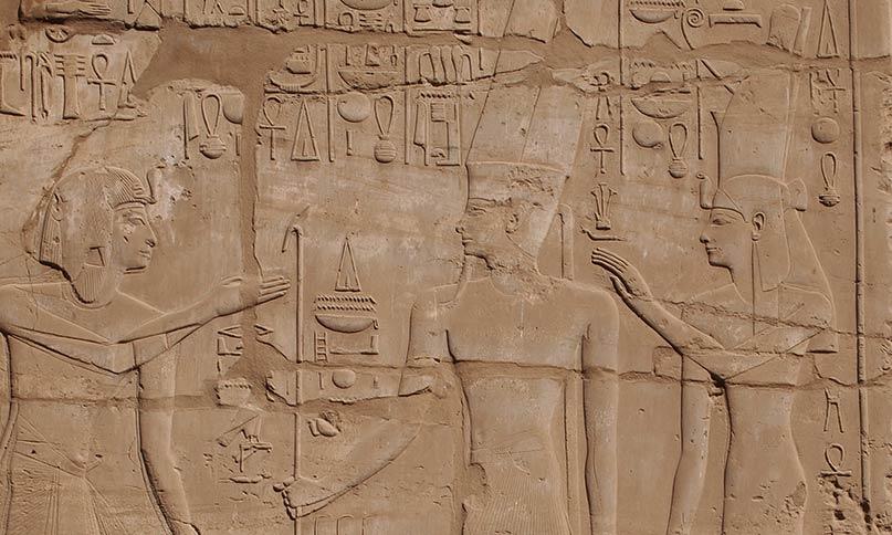 Sethos I. vor Amun-Re und Mut Karnak-Tempel Neues Reich, 19. Dynastie
