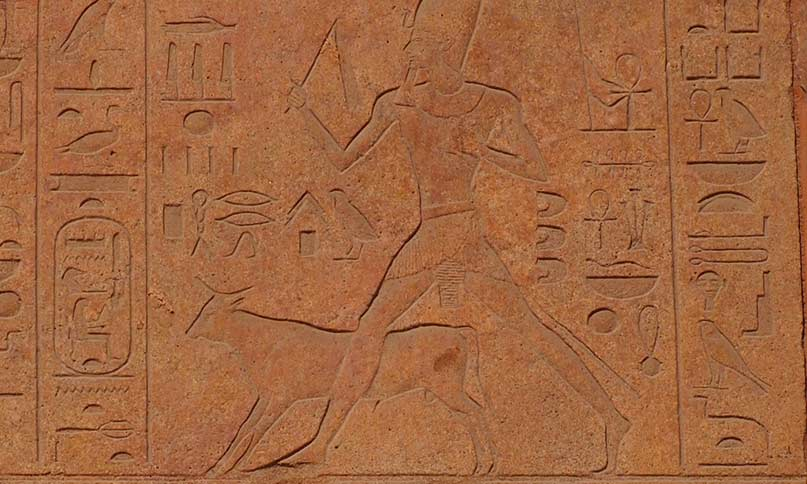 """Die Königin Hatschepsut beim """"Auslauf des Apis-Stieres"""", ein Fruchtbarkeitsritual beim Sedfest, in dem der Pharao den heiligen Stier auf die Felder vor der alten Hauptstadt Memphis trieb. Rote Kapelle der Hatschepsut, Karnak Neues Reich, 18. Dynastie"""